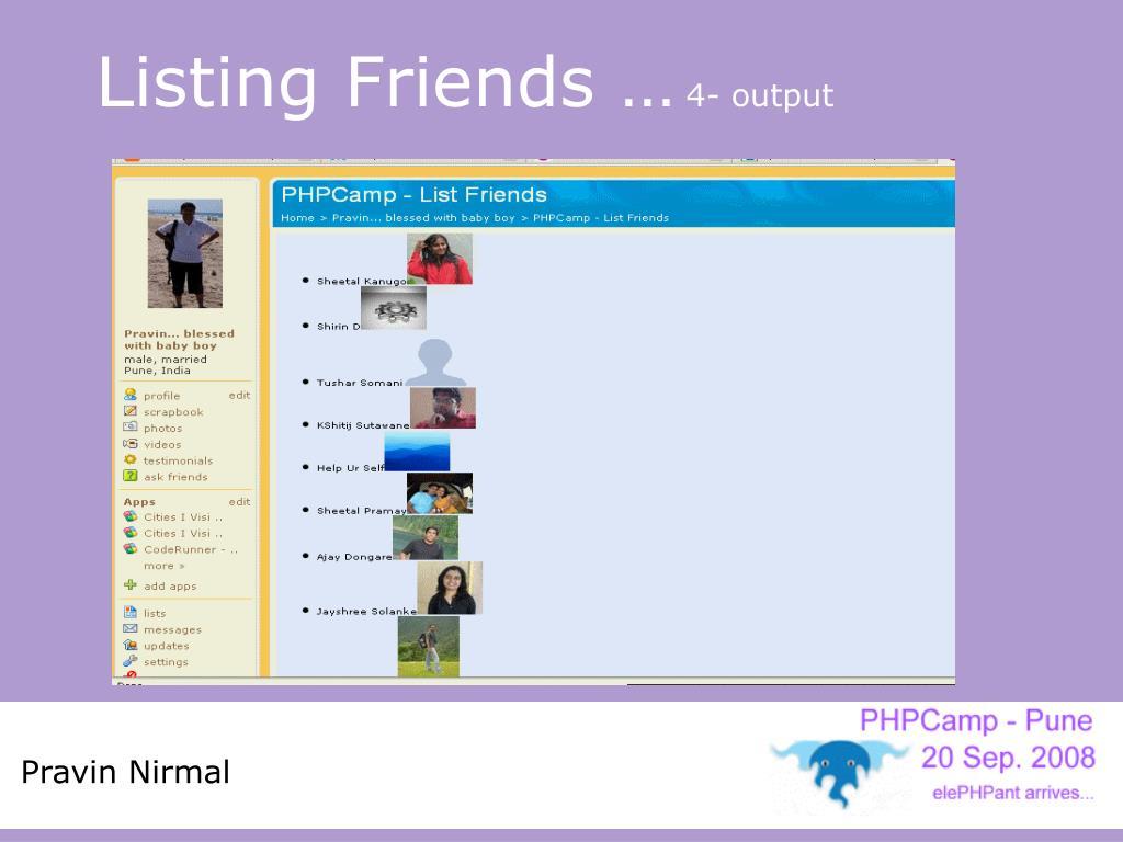 Listing Friends …