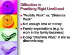 difficulties in practicing right livelihood