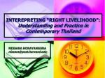 interepreting right livelihood understanding and practice in contemporary thailand
