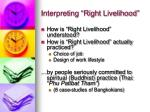interpreting right livelihood