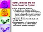 right livelihood and the socio economic system