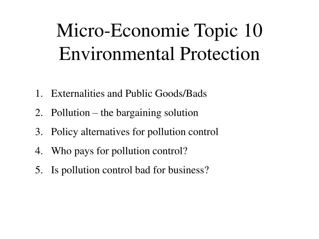 micro economie topic 10 environmental protection l.