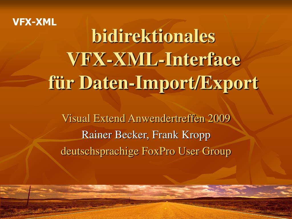 bidirektionales vfx xml interface f r daten import export l.