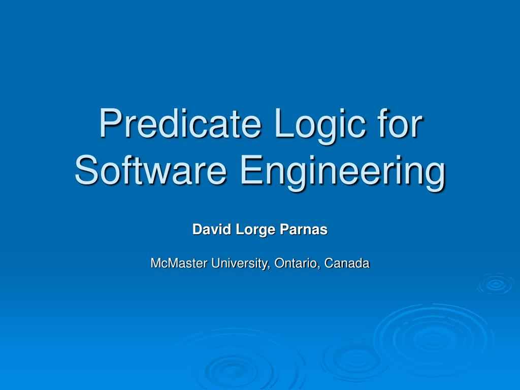 predicate logic for software engineering l.
