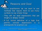 reasons and goal