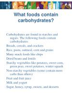 what foods contain carbohydrates