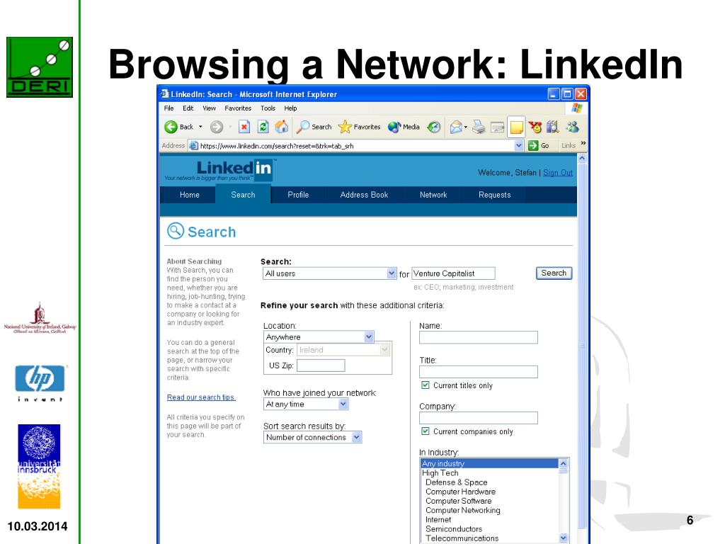 Browsing a Network: LinkedIn