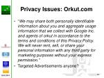privacy issues orkut com