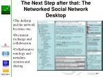 the next step after that the networked social network desktop