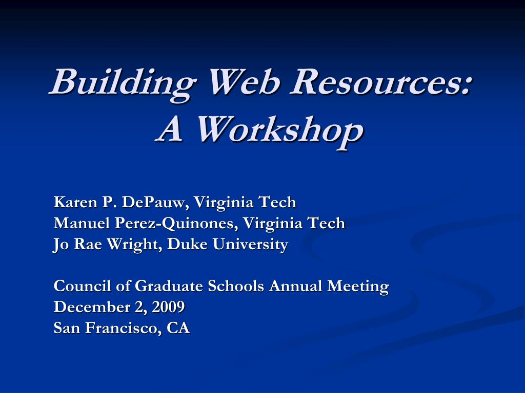 building web resources a workshop l.