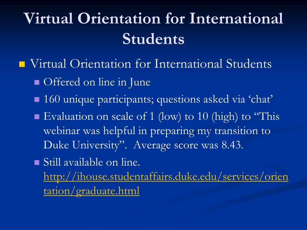 Virtual Orientation for International Students