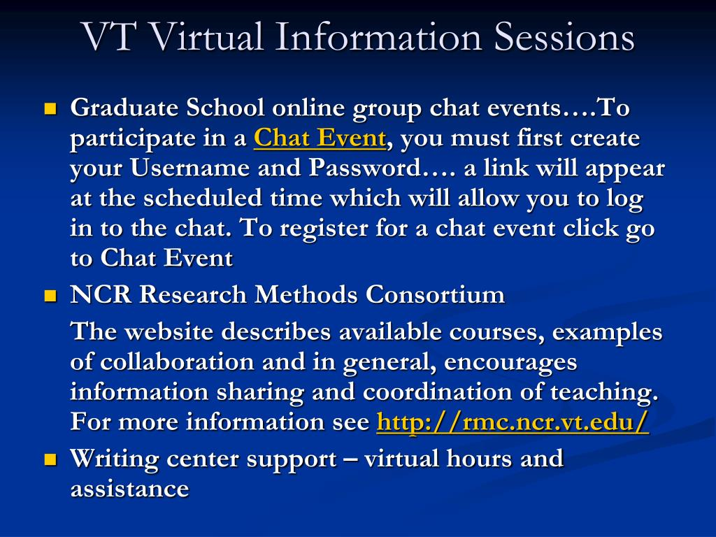 VT Virtual Information Sessions