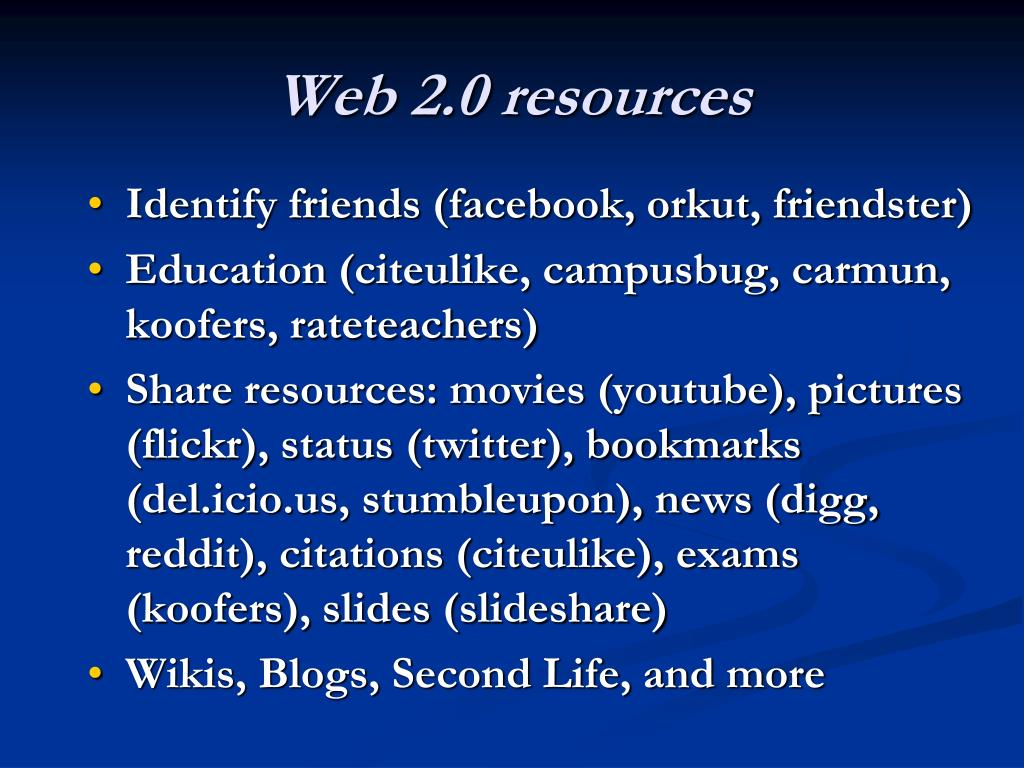 Web 2.0 resources