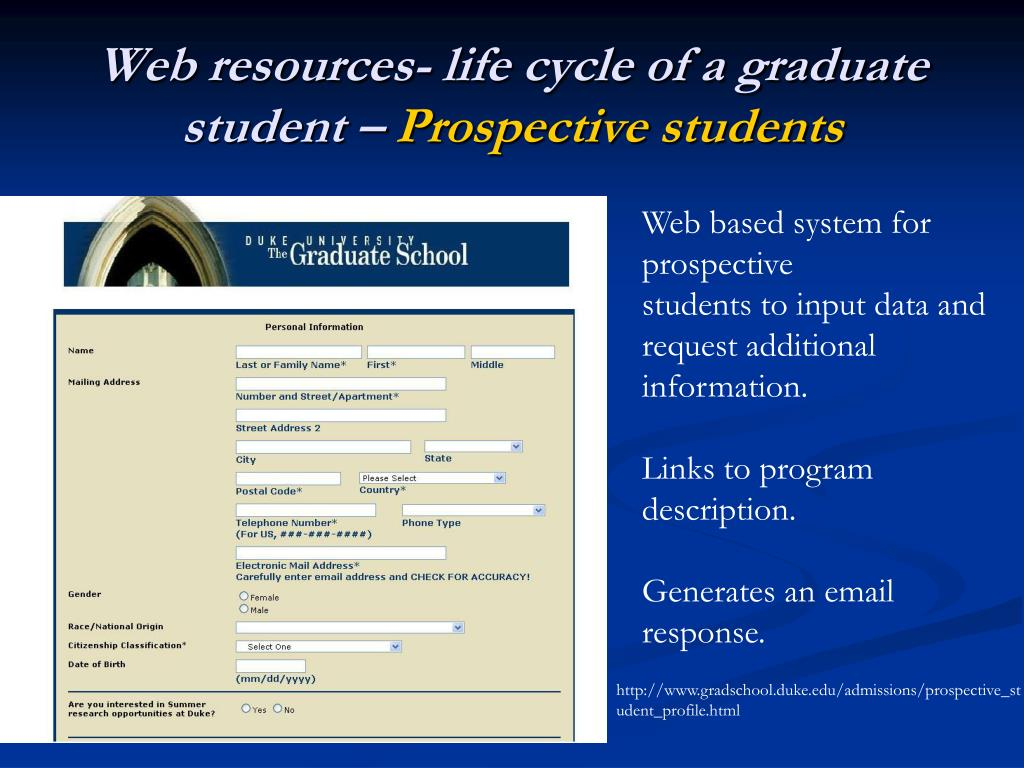 Web resources- life cycle of a graduate student –