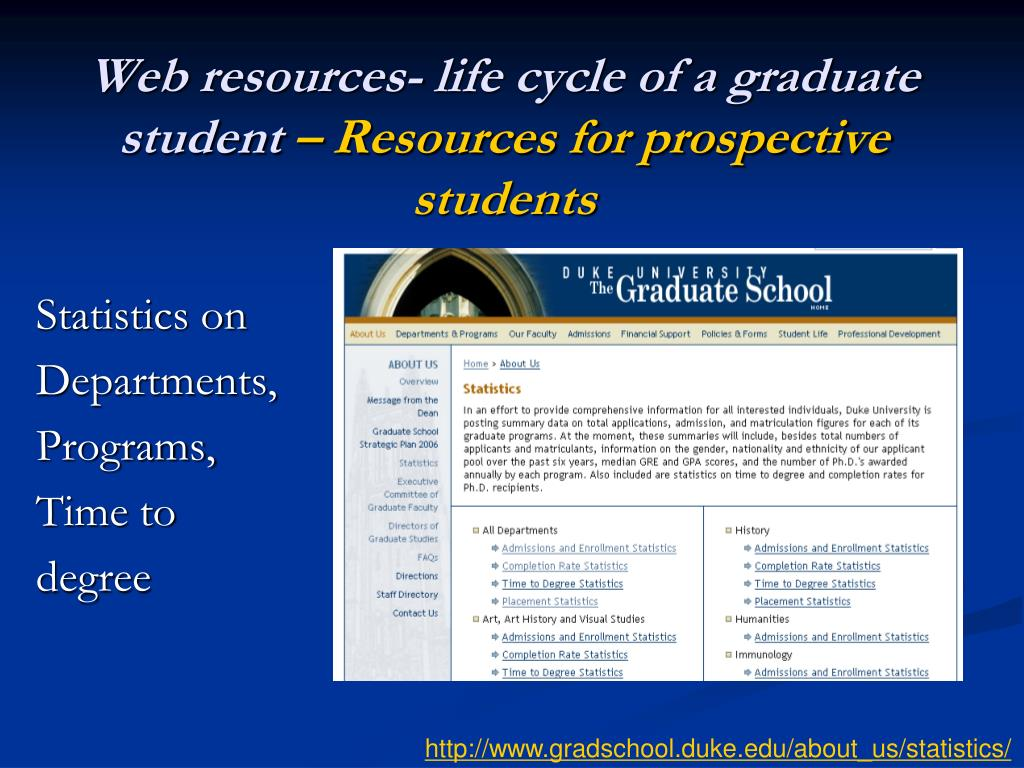 Web resources- life cycle of a graduate student
