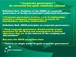 corporate governance an essential but quite indefinite concept