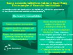 some concrete initiatives taken in hong kong the example of financial institutions