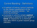 control banding definitions