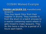 coshh worked example