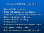 limit of coshh essentials