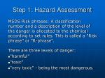 step 1 hazard assessment