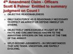 4 th amendment claim officers scott palmer entitled to summary judgment on count i