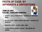 facts of case by affidavits depositions