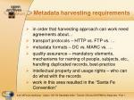 metadata harvesting requirements