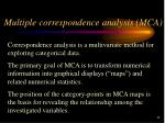 multiple correspondence analysis mca