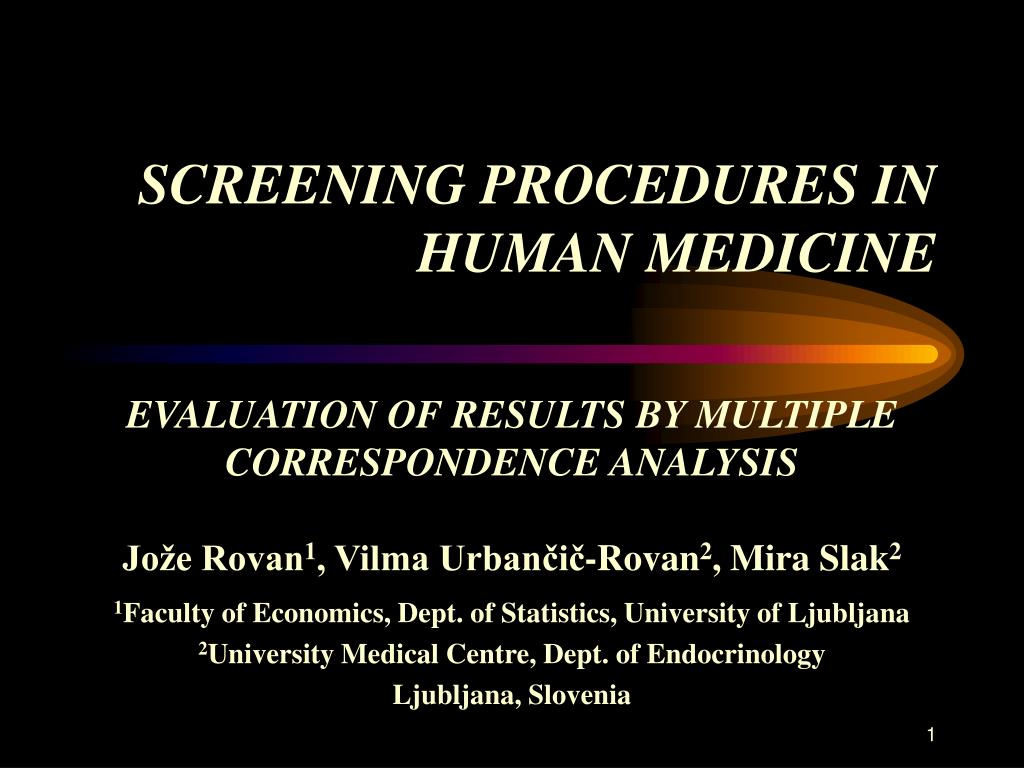screening procedures in human medicine l.