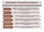 examples of implementation indicators by federal requirement