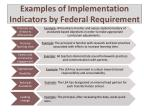examples of implementation indicators by federal requirement11