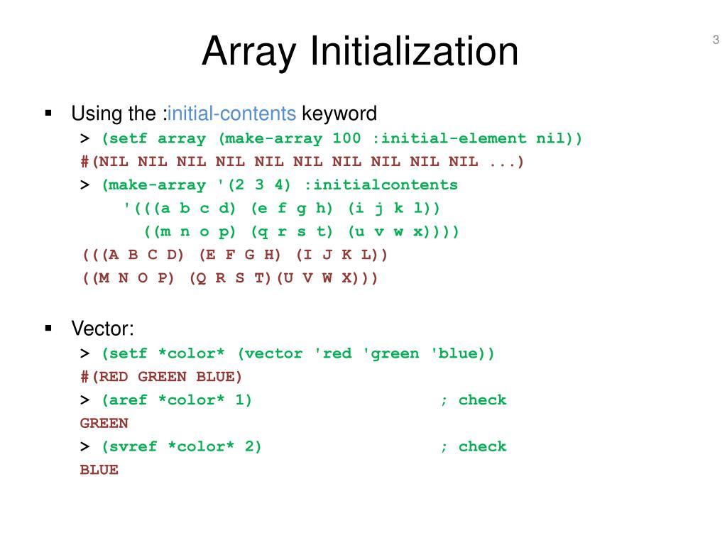 Array Initialization