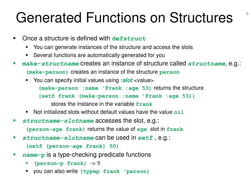 Generated Functions on Structures