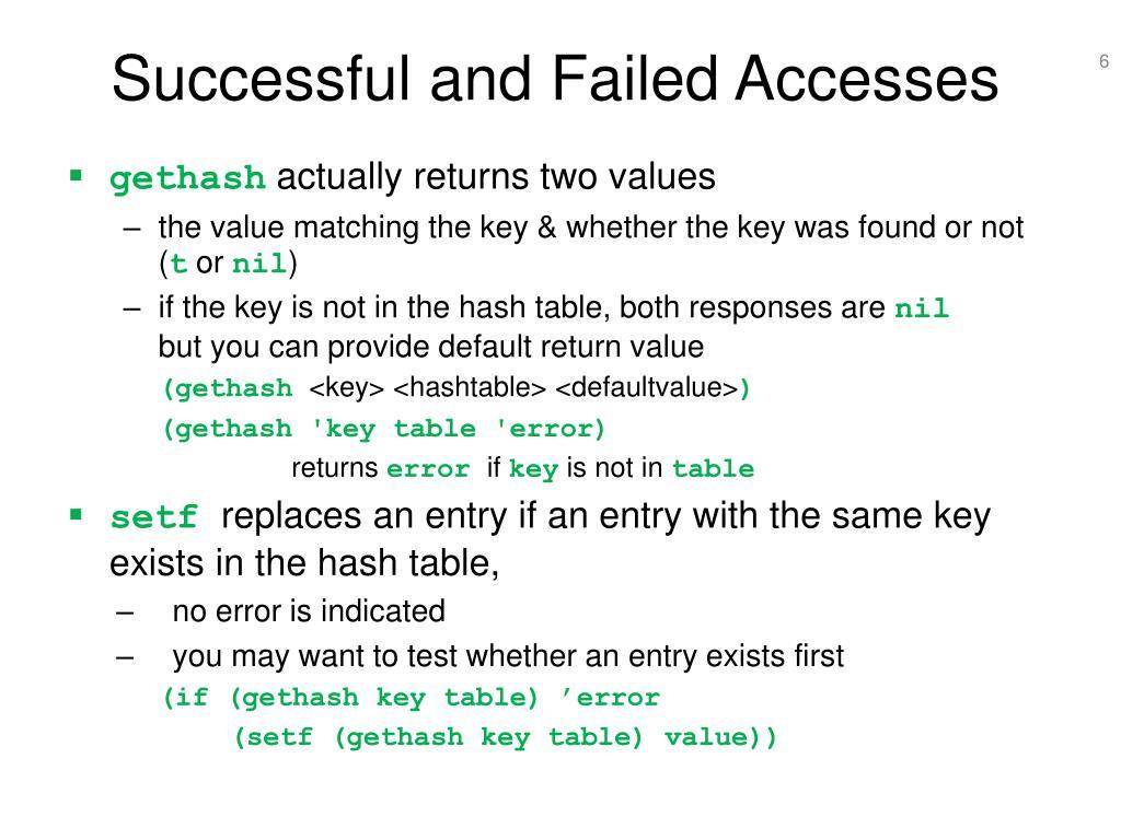 Successful and Failed Accesses
