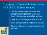 examples of student activities from hbs unit 2 communication