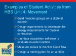 examples of student activities from hbs unit 4 movement