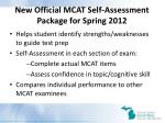 new official mcat self assessment package for spring 2012