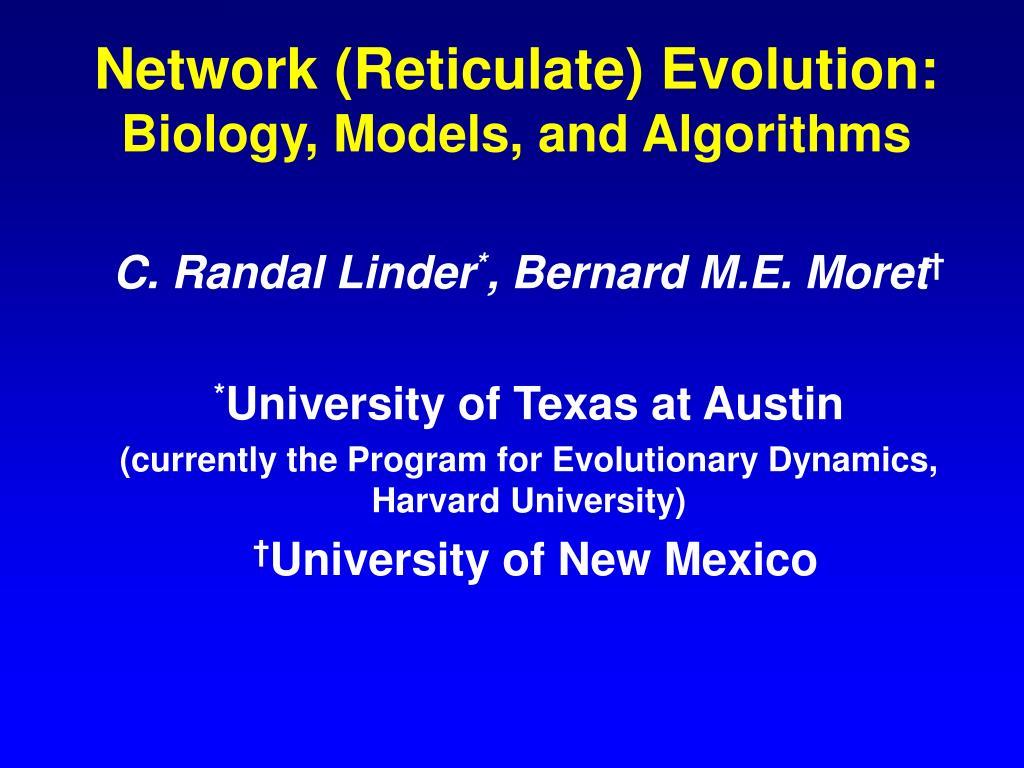 network reticulate evolution biology models and algorithms l.