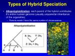 types of hybrid speciation