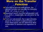 more on the transfer function
