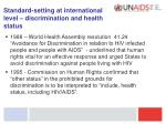 standard setting at international level discrimination and health status