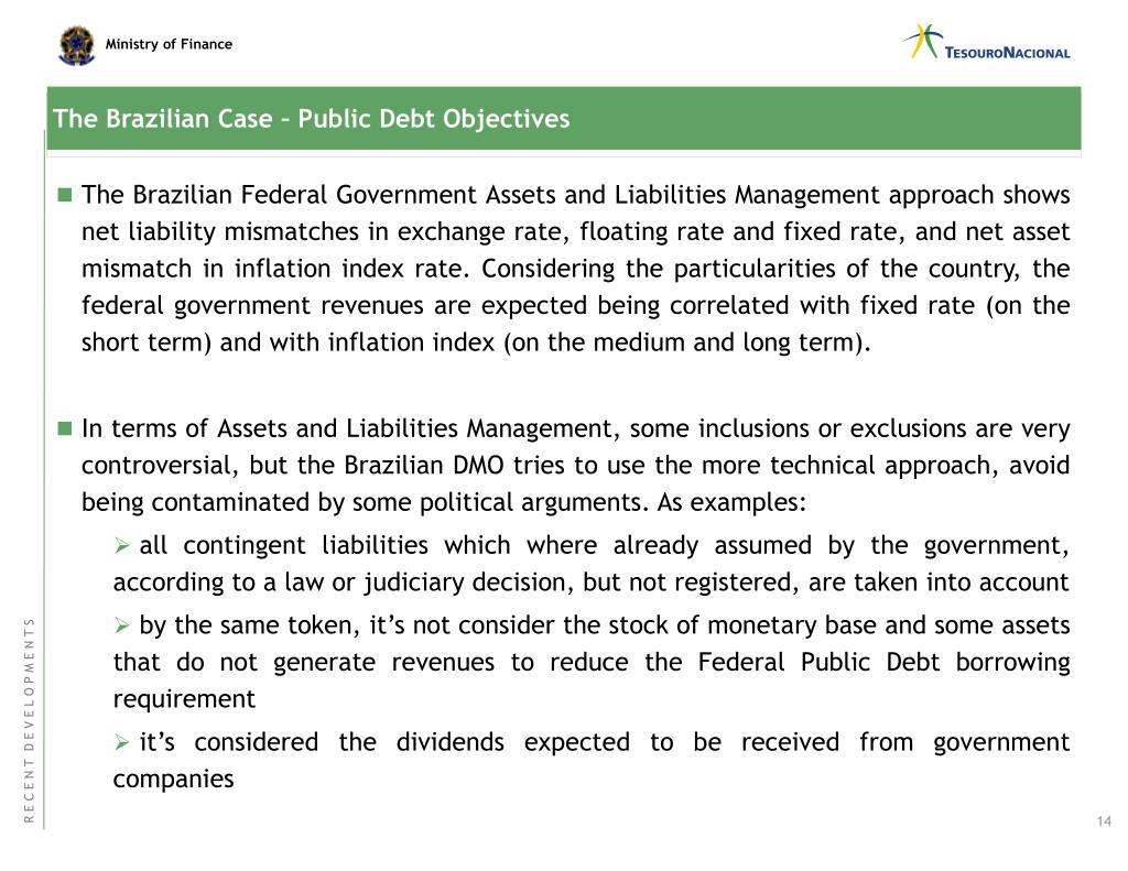 The Brazilian Case – Public Debt Objectives