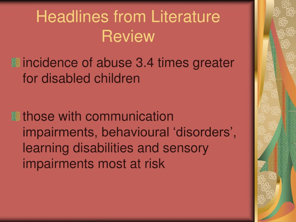 Headlines from Literature Review
