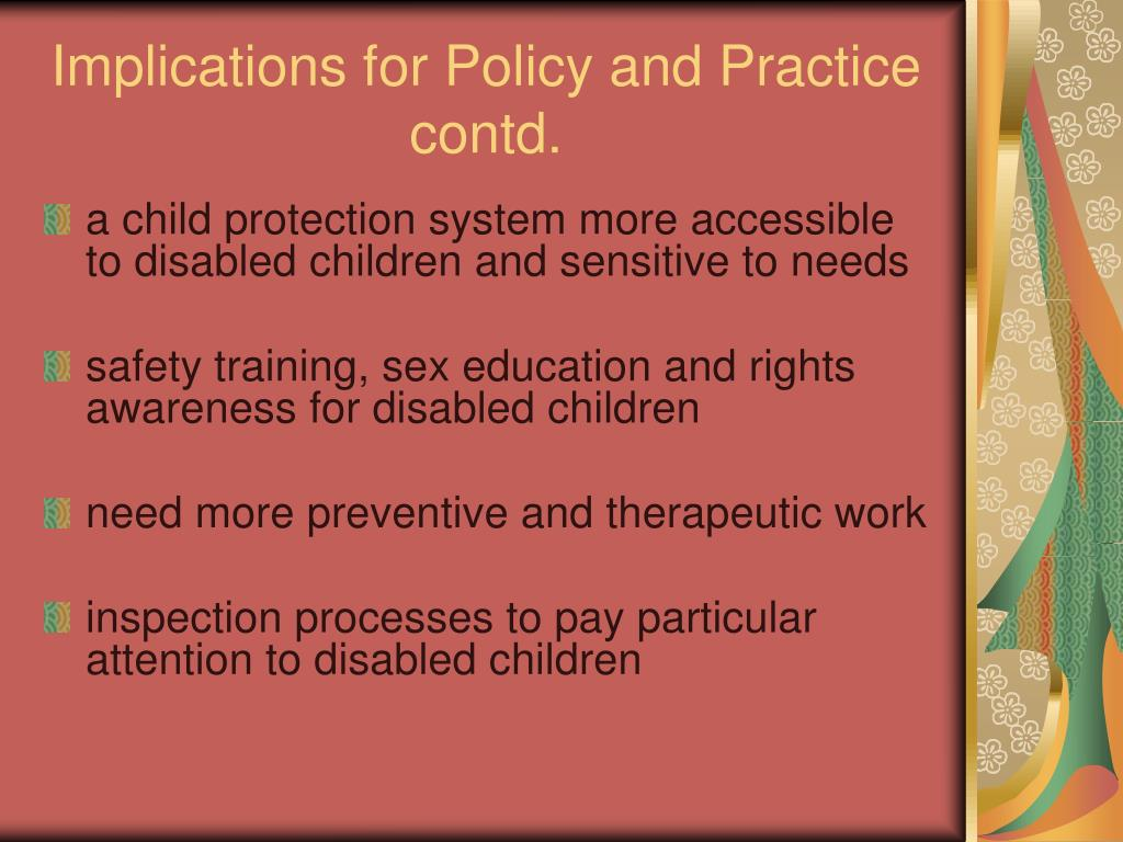 Implications for Policy and Practice contd.