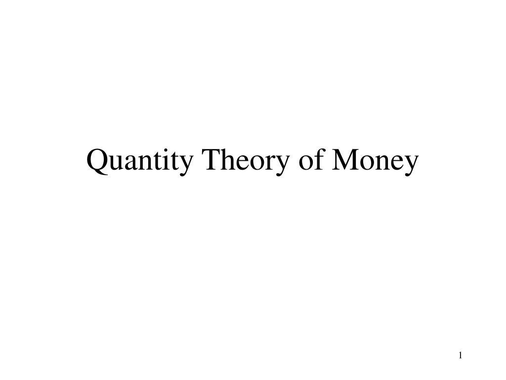 quantity theory of money l.