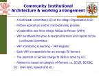 community institutional architecture working arrangement