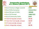 community institutions at a glance march 2011