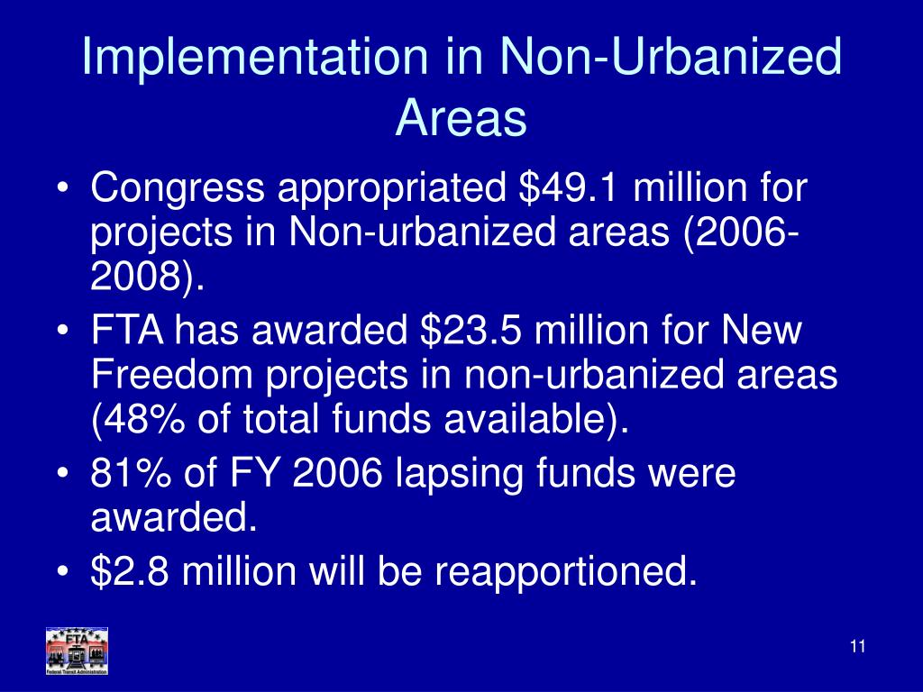 Implementation in Non-Urbanized Areas