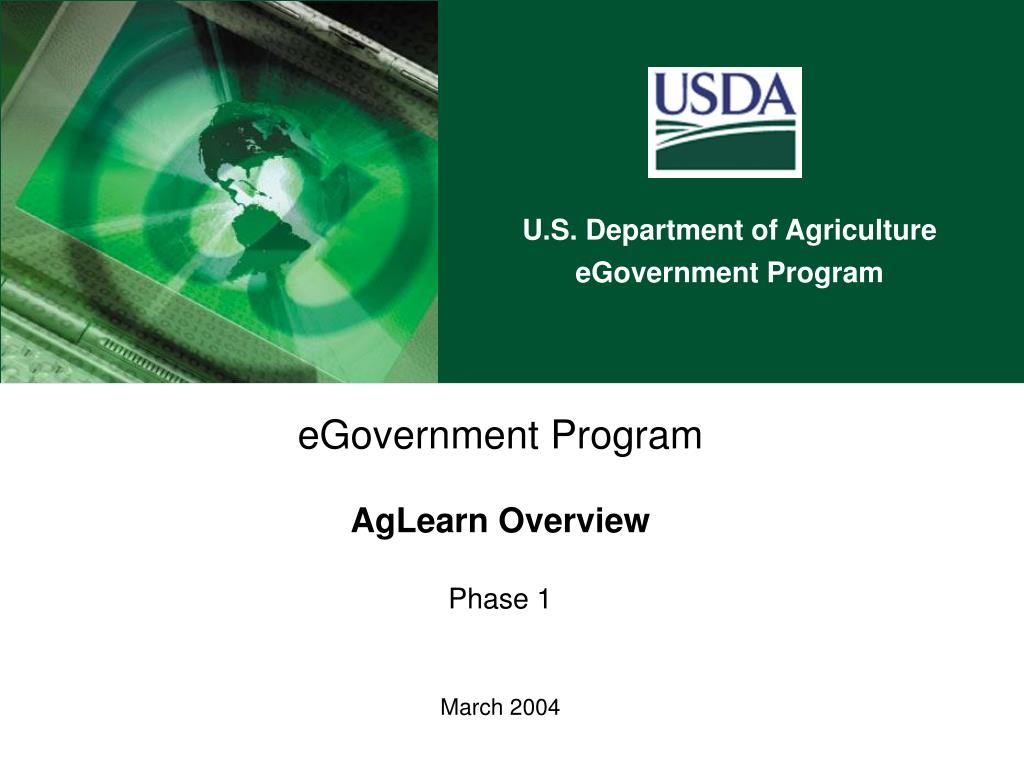 egovernment program aglearn overview phase 1 march 2004 l.